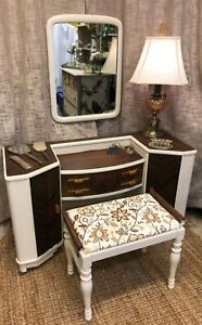 Vintage Dressing Vanity Makeup Table W Mirror Bench Seat Pick Up Only