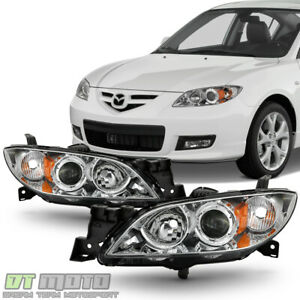 Chrome 2004 2009 Mazda 3 Sedan Headlights Halogen Projector Headlamps Left Right
