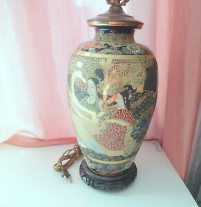 Antique Japanese Imperial Satsuma Large Vase W Wood Base Copper Top Lid Lamp