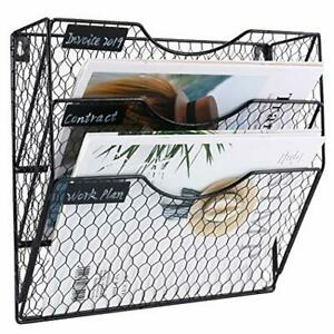 Pag Wall File Holder Hanging Mail Organizer Metal Chicken Wire Wall Mount Black