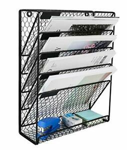 Pag Hanging File Holder Organizer Metal Chicken Wire Wall Mount Magazine Black