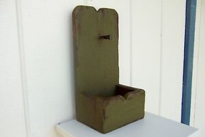 Primitive Rustic Painted Shelf Country Wall Candle Box Folk Art Mail Distressed