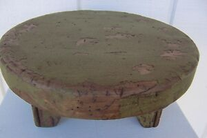Primitive Rustic Painted Pine Country Farm Table Riser Farmhouse Bench Wood Top