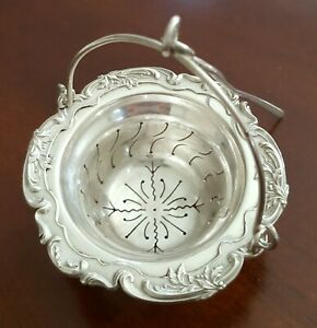French Sterling Gorgeous Hanging Tea Strainer 950 Purity By Henri Soufflot