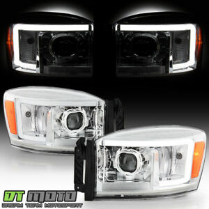 2006 2008 Dodge Ram 1500 2500 3500 Pickup Chrome Led Tube Projector Headlights