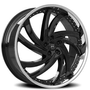 4ea 24 Lexani Wheels Turbine Black With Ss Lip Rims s1