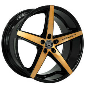 4ea 22 Staggered Lexani Wheels R Four Black With Brushed Bronze Face Rims S1