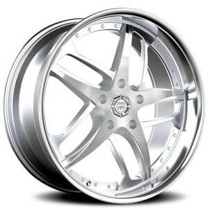 4ea 24 Lexani Wheels Solar Silver Machined With Ss Lip Rims s1