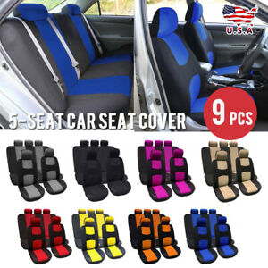 9 Parts Car Seat Cover For Auto Full Set W Steering Wheel Cover Belt Pads 5heads