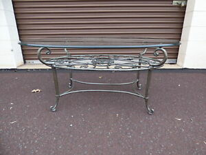 Stunning Ethan Allen Wrought Iron Glass Top Cocktail Coffee Table