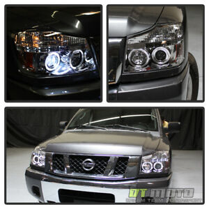 For 2004 2015 Titan 04 07 Armada Led Dual Halo Projector Front Headlights Lamps