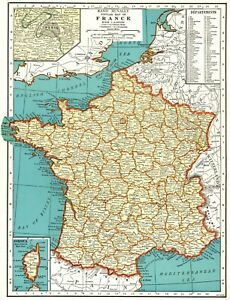 1939 Antique France Map Vintage Map Of France Gallery Wall Art 7407