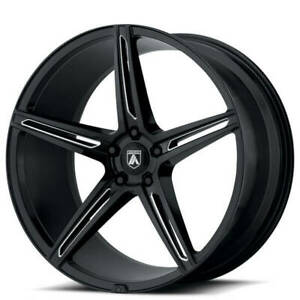 4ea 22 Staggered Asanti Wheels Abl 22 Alpha 5 Gloss Black Milled Rims s11