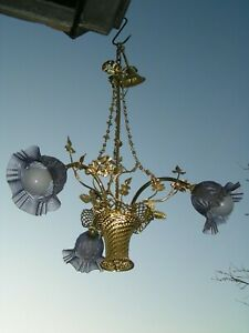 Very Attractive Vtg French 3 Lt Woven Basket Chandelier