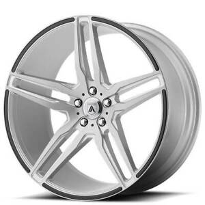 4ea 22 Staggered Asanti Wheels Abl 12 Orion Brushed Silver W Carbon Fiber S11