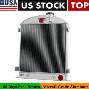 4 Row Radiator For 1939 1940 Ford 3 Chopped Grill Shells Chevy Engine Pro