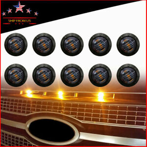 10 X Universal Round Smoked Lens Front Bumper Grill Grille Amber Led Lights Fits 1955 Ford