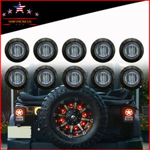 10 X Smoked 3 4 red Led Third Wheel Light For Truck Jeep Wrangler Jk Tj