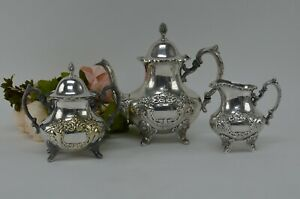 Epca By Poole Silverplate Teapot 600 Hand Chased Tea Pot Sugar Bowl