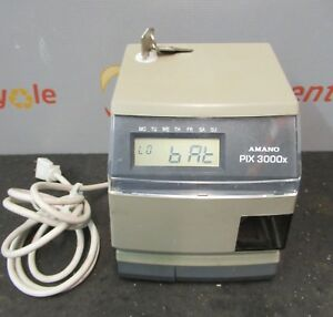 Amano Pix 3000x Digital Electric Time Stamp Recorder Clock Punch In Out Keys