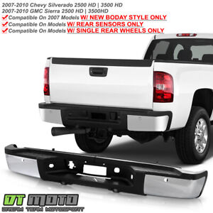 2007 2010 Chevy Silverado Sierrsa 2500 3500 Hd Sensor Holes Chrome Rear Bumper