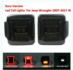 For Jeep Wrangler Jk 07 17 Euro Led Tail Lights Smoke Rear Brake Turn Signals