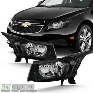 All Black 2011 2012 2013 2014 2015 Chevy Cruze Headlights Headlamps Left right