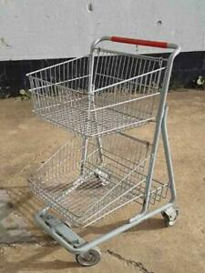 Shopping Carts 2 Tier Double Basket Metal Lot 10 Used Store Fixtures Grocery