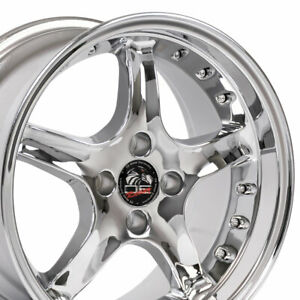 17x8 Chrome Cobra 4 Lug Wheels Set Of 4 Rims Fit Mustang Gt 79 93