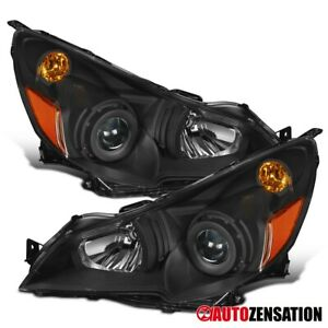 For 2010 2014 Subaru Legacy Black Projector Headlights Siganl Lamps Pair