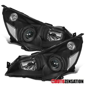 For 2010 2014 Subaru Legacy Black Projector Headlights Lamps Left Right