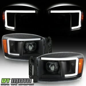 2006 2008 Dodge Ram 1500 2500 3500 Pickup Black Led Tube Projector Headlights