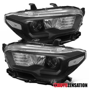 For 2016 2018 Toyota Tacoma Pair Black Projector Headlights Signal Lamps