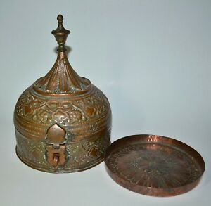 Antique Vtg Indian Hand Made Copper Paan Daan Betel Box Pointed Finial Old Rare