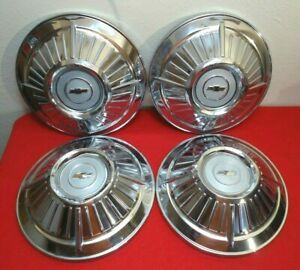 Vintage Set Chevy Dog Dish Poverty Hubcaps Wheel Covers