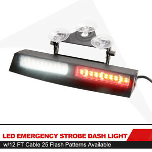 Led Emergency Strobe Dash Red White Light 12ft Cable 25 Flash Patterns Available