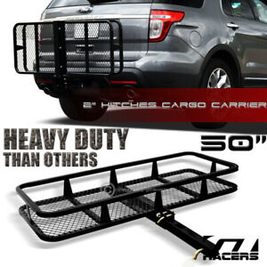 Blk Mesh Foldable Trailer Hitch Luggage Cargo Carrier Rack Hauler Basket 50 G16