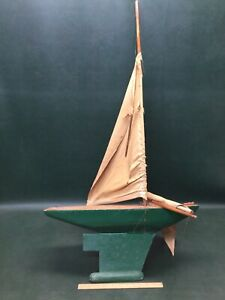 Antique Wooden Pond Model Yacht Sail Boat Sailboat Ship 44 H As Is