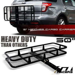 Blk Mesh Foldable Trailer Hitch Luggage Cargo Carrier Rack Hauler Basket 50 G02