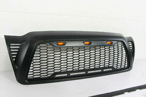Front Grille Honeycomb Hood Gloss Black For 2005 2011 Toyota Tacoma W Led Light
