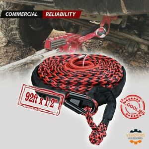 92 1 2 Synthetic Winch Cable 22000lbs 1 2 Soft Shackle Rope Tow Truck Strap