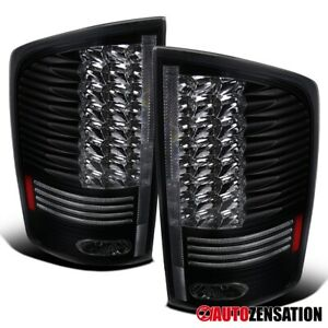 For 2002 2006 Dodge Ram 1500 2500 3500 Black Led Tail Lights Brake Lamps Pair