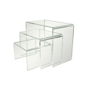 3 Pc Lucite Clear Acrylic U Cubes Riser Nester Retail Store Display