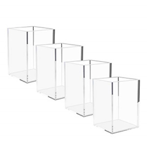 Niubee Acrylic Pen Holder 4 Pack clear Desktop Pencil Cup Stationery Organizer