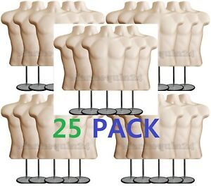 25 Pack Male Torso Mannequins 25 Stands Flesh Men Clothing Display Body Forms