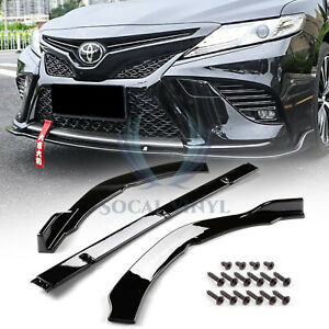 3pcs Gloss Front Bumper Cover Lip Body Kit For Toyota Camry 2018 2019 Se Xse Jdm