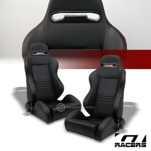 2x Universal T R Black Pvc Leather Red Stitch Reclinable Racing Bucket Seats G01