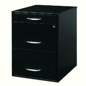 Space Solutions 18 Deep 3 Drawer Metal File Cabinet With Pencil Drawer Black