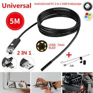 7mm Android Endoscope 2in1 6 Led Snake Borescope Usb Inspection Camera 5m Cable