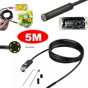 5m 7mm Android Endoscope 6led Waterproof Borescope Inspection Camera Usb 2in1